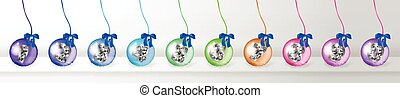 Realistic 3d Vector Christmas Balls with Gold Numbers