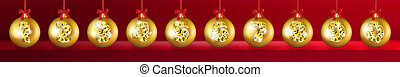 Realistic 3d Vector Christmas Balls with Golden 2019 Numbers