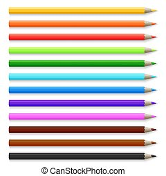 Realistic 3d wooden colored pencils isolated on white vector illustration