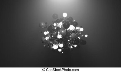 Realistic abstract animation featuring metallic and illuminated spheres.