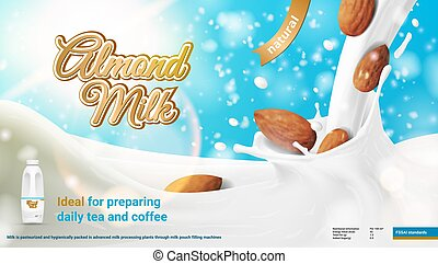 Realistic Advertising 3D Illustration Of Natural Almond Milk