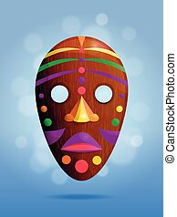 Realistic african wooden mask on blue background