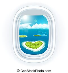 Realistic aircraft porthole (window) with blue sea or ocean in it and small tropical islands, one island is heart-shaped, view through travelling over the sea. Vector illustration, isolated on white.