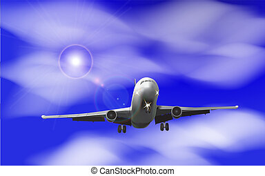 Realistic airplane on a background of blue sky with clouds Vector