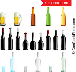 Realistic Alcoholic Drinks and beverages icon set isolated vector