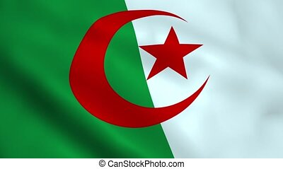 Realistic Algeria flag waving in the wind. Seamless looping.