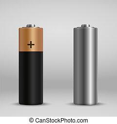realistic alkaline battery. design blank mockup template.