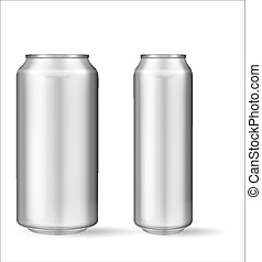 Realistic aluminum can on white background