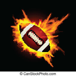 Realistic American football in the fire