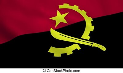 Realistic Angola flag waving in the wind. Seamless looping.