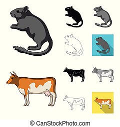 Realistic animals cartoon, black, flat, monochrome, outline icons in set collection for design. Wild and domestic animals vector symbol stock web illustration.