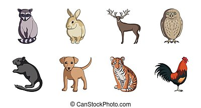 Realistic animals icons in set collection for design. Wild and domestic animals vector symbol stock web illustration.