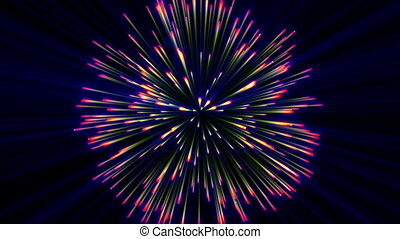 Realistic animation Firework Colorful, 3D Abstract