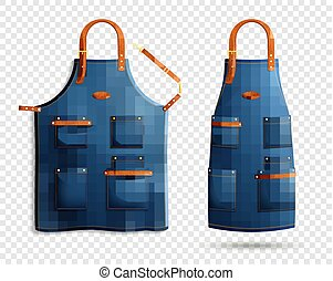 Realistic Aprons Transparent Background Set