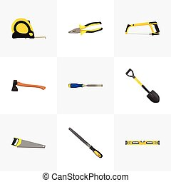 Realistic Arm-Saw, Hatchet, Hacksaw And Other Vector Elements. Set Of Instruments Realistic Symbols Also Includes Measure, Saw, Level Objects.