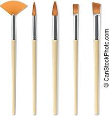 Realistic artist paintbrushes set