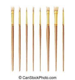 Realistic Artist Paintbrushes Set. Paint Brush Set Isolated On White Background. Vector Collection For Artist Design. Watercolor, Acrilic Or Oil Brushes With Light Wooden Handle