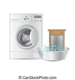 realistic automatic washing machine and ribbed hand washboard in metal basin