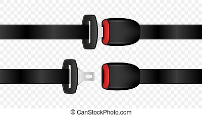 Realistic automobile open and closed seat belts. Set of fixed and unlocked seat belt