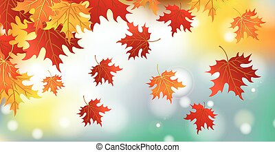 Realistic autumn foliage, background with bokeh - Vector