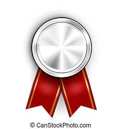 Realistic Award Medal. Winner Champion Silver Medal