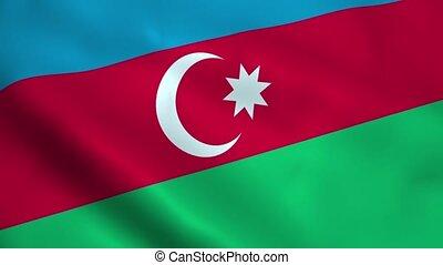 Realistic Azerbaijan flag