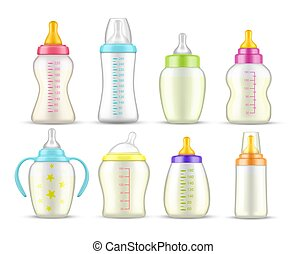 Realistic baby feeding bottles with milk, mockups