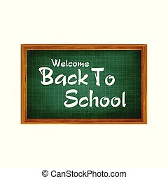 Realistic Back to School Title Poster Design in a Blackboard with School Items in a Background. Editable Vector Illustration