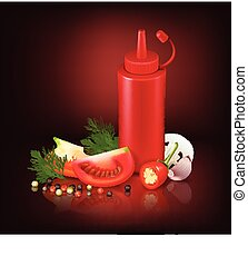 Realistic Background With Red Plastic Bottle And Vegetables...