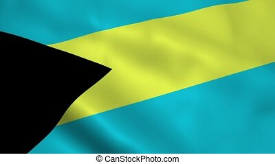 Realistic Bahamas flag waving in the wind. Seamless looping.