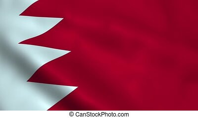 Realistic Bahrain flag waving in the wind. Seamless looping.