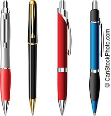 Realistic ballpoint pen set in different colors and styles...