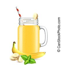 Realistic Banana Smoothie Composition - Realistic jar ...
