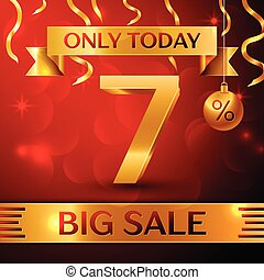 Realistic banner Merry Christmas with text Big Sale only today seven percent for discount on red background. Confetti, christmas ball and gold ribbon. Vector Illustration