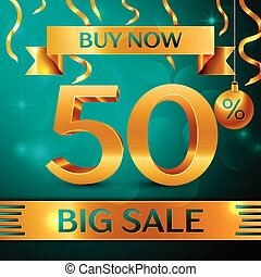 Realistic banner Merry Christmas with text Gold Big Sale buy now fifty percent for discount on green background. Confetti, christmas ball and gold ribbon. Vector Illustration
