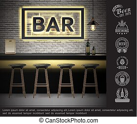 Realistic Bar Interior Template