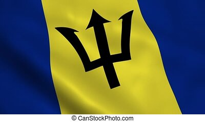 Realistic Barbados flag