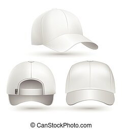 Realistic baseball cap front, side, back views set. Stock vector illustration
