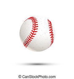 Realistic baseball icon with shadow isolated on white