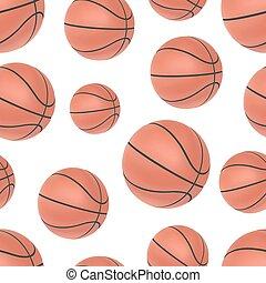 Realistic basketball seamless pattern