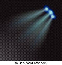 Realistic beam light on transparent background. Vector illustration