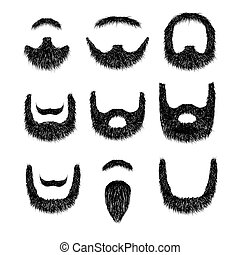 Realistic Beard set  isolated on white background vector illustration.
