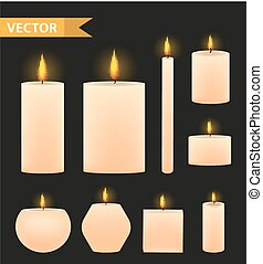 Realistic beige candles set. 3d burning candle collection....
