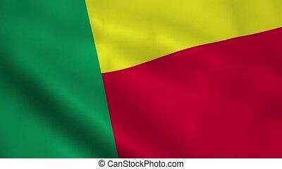 Realistic Benin flag