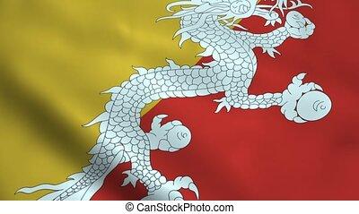 Realistic Bhutan flag waving in the wind. Seamless looping.