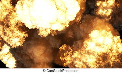 Special effect of a large realistic fire explosion on a black background 4K