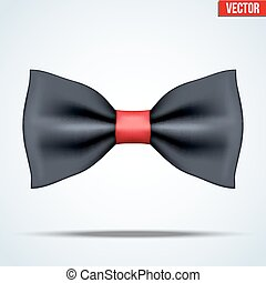 Realistic black and red bow tie