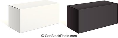 Realistic black and white packing boxes. For electronic...