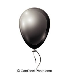 Realistic black balloon with ribbon isolated on white background. Vector illustration of shiny colorful glossy balloon
