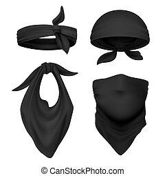 Realistic black bandana. Face buff and handkerchief isolated...